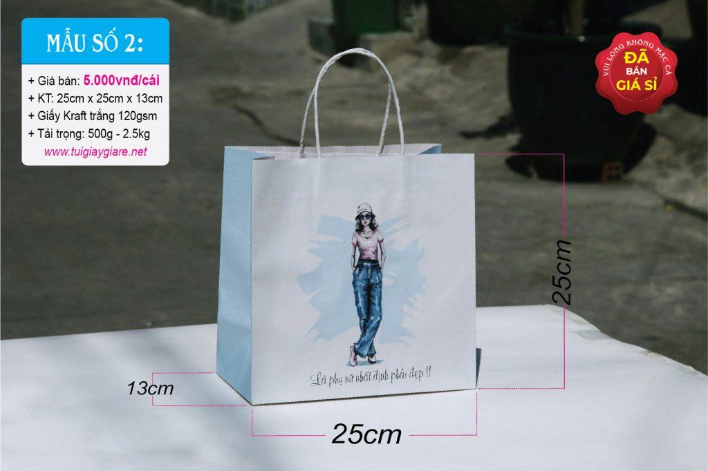 Túi giấy kraft trắng, đựng thời trang nũ