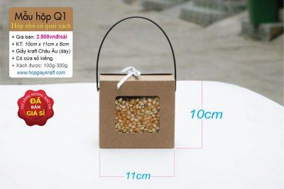 Hộp giấy kraft mini đựng thực phẩm, trái cây - Có quai xách