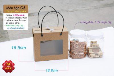 Hộp giấy thực phẩm - đựng khô mực, hạt điều, đậu phộng, 2 hủ nhựa 800ml hoặc 1kg
