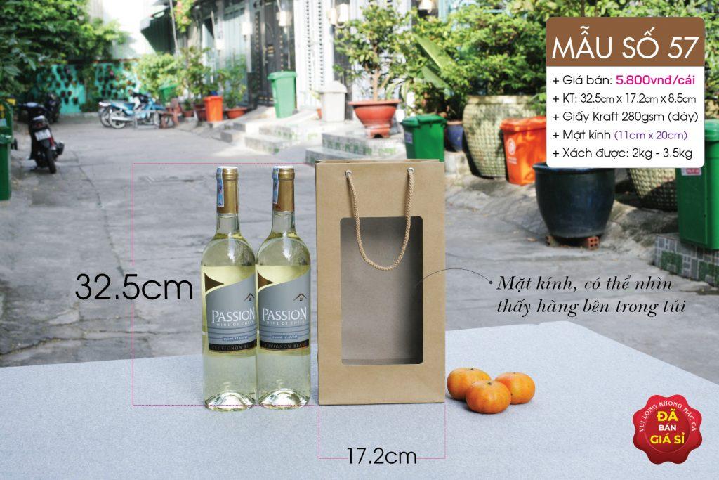 Túi giấy mặt kính rượu champagne